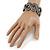 Black/ Grey/ Clear Crystal Plaited Hinged Bangle Bracelet In Black Tone - 19cm L - view 2