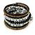 Jet Black Glass, Silver & Bronze Tone Acrylic Bead Coiled Flex Bracelet - Adjustable - view 4