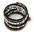 Jet Black Glass, Silver & Bronze Tone Acrylic Bead Coiled Flex Bracelet - Adjustable - view 5