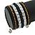 Jet Black Glass, Silver & Bronze Tone Acrylic Bead Coiled Flex Bracelet - Adjustable - view 3
