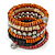 Wide Cherry/ Black/ Orange Wooden Bead Coil Flex Bracelet - Adjustable