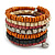 Wide Cherry/ Black/ Orange Wooden Bead Coil Flex Bracelet - Adjustable - view 6