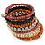 Wide Cherry/ Black/ Orange Wooden Bead Coil Flex Bracelet - Adjustable - view 5
