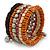Wide Cherry/ Black/ Orange Wooden Bead Coil Flex Bracelet - Adjustable - view 4