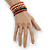 Wide Cherry/ Black/ Orange Wooden Bead Coil Flex Bracelet - Adjustable - view 2