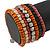 Wide Cherry/ Black/ Orange Wooden Bead Coil Flex Bracelet - Adjustable - view 3