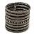 Wide Hematite/ Black Glass Bead Flex Bracelet - Adjustable - 60mm W
