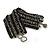 Wide Handmade Black/ Grey Glass Bead Bracelet - 16cm L/ 2cm Ext