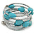 Turquoise Stone and Metallic Silver Glass Bead Multistrand Coiled Flex Bracelet - Adjustable