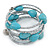 Turquoise Stone and Metallic Silver Glass Bead Multistrand Coiled Flex Bracelet - Adjustable - view 6