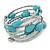 Turquoise Stone and Metallic Silver Glass Bead Multistrand Coiled Flex Bracelet - Adjustable - view 7