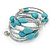 Turquoise Stone and Metallic Silver Glass Bead Multistrand Coiled Flex Bracelet - Adjustable - view 5