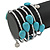 Turquoise Stone and Metallic Silver Glass Bead Multistrand Coiled Flex Bracelet - Adjustable - view 3