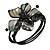 Ash Black Shell Bead Flower Wired Flex Bracelet - Adjustable