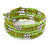 Lime Green/ Light Olive Stone, Silver Acrylic Bead Multistrand Coiled Flex Bracelet - Adjustable - view 5