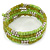 Lime Green/ Light Olive Stone, Silver Acrylic Bead Multistrand Coiled Flex Bracelet - Adjustable - view 6