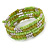 Lime Green/ Light Olive Stone, Silver Acrylic Bead Multistrand Coiled Flex Bracelet - Adjustable - view 4