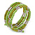 Lime Green/ Light Olive Stone, Silver Acrylic Bead Multistrand Coiled Flex Bracelet - Adjustable