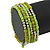 Lime Green/ Light Olive Stone, Silver Acrylic Bead Multistrand Coiled Flex Bracelet - Adjustable - view 2