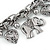 Vintage Inspired Elephant and Heart Charm Chunky Chain Bracelet In Silver Tone - 17cm L/ 5cm Ext - view 3