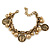 Vintage Inspired Coin and Bead Charm Chunky Link Bracelet In Antique Gold Tone Metal - 17cm L/ 5 cm Ext - view 6