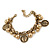 Vintage Inspired Coin and Bead Charm Chunky Link Bracelet In Antique Gold Tone Metal - 17cm L/ 5 cm Ext - view 7