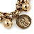 Vintage Inspired Coin and Bead Charm Chunky Link Bracelet In Antique Gold Tone Metal - 17cm L/ 5 cm Ext - view 3