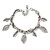 Vintage Inspired Leaf Charm with Chunky Chain Bracelet In Silver Tone - 17cm L/ 4cm Ext