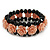 Romantic Dusty Pink Resin Rose, Black Glass Bead Flex Bracelet - 18cm L