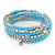 Light Blue Glass Bead, Silver Acrylic Bead Multistrand Coiled Flex Bracelet - Adjustable - view 4