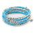 Light Blue Glass Bead, Silver Acrylic Bead Multistrand Coiled Flex Bracelet - Adjustable - view 5