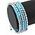 Light Blue Glass Bead, Silver Acrylic Bead Multistrand Coiled Flex Bracelet - Adjustable - view 3