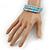 Light Blue Glass Bead, Silver Acrylic Bead Multistrand Coiled Flex Bracelet - Adjustable - view 2