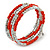 Coral Orange Glass Bead, Silver Acrylic Bead Multistrand Coiled Flex Bracelet - Adjustable