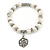 10mm Freshwater Pearl With Rose Flower Charm and Silver Tone Metal Rings Stretch Bracelet - 18cm L - view 5