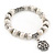 10mm Freshwater Pearl With Rose Flower Charm and Silver Tone Metal Rings Stretch Bracelet - 18cm L