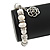 10mm Freshwater Pearl With Rose Flower Charm and Silver Tone Metal Rings Stretch Bracelet - 18cm L - view 4