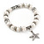 10mm Freshwater Pearl With Starfish Charm and Silver Tone Metal Rings Stretch Bracelet - 18cm L