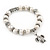 10mm Freshwater Pearl With Turtle Charm and Silver Tone Metal Rings Stretch Bracelet - 18cm L - view 5
