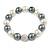 12mm White/ Grey Polished Glass Bead with Clear Crystal Ball Flex Bracelet - 17cm L
