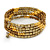 Bronze Brown Glass Bead, Gold Acrylic Bead Multistrand Coiled Flex Bracelet - Adjustable