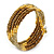 Bronze Brown Glass Bead, Gold Acrylic Bead Multistrand Coiled Flex Bracelet - Adjustable - view 3