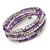 Purple Glass Silver Acrylic Bead Multistrand Coiled Flex Bracelet Bangle - Adjustable - view 2