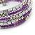 Purple Glass Silver Acrylic Bead Multistrand Coiled Flex Bracelet Bangle - Adjustable - view 3