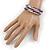 Purple Glass Silver Acrylic Bead Multistrand Coiled Flex Bracelet Bangle - Adjustable - view 4