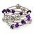 Purple Shell Nugget, Mirrored Ball Bead Multistrand Flex Bracelet - Medium