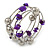 Purple Shell Nugget, Mirrored Ball Bead Multistrand Flex Bracelet - Medium - view 3