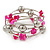 Deep Pink Shell Nugget, Mirrored Ball Bead Multistrand Flex Bracelet - Medium