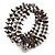 Dark Grey Shell Nugget, Silver Tone Ball Bead Multistrand Flex Bracelet - Medium