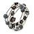 Black Shell Nugget, Grey Ceramic Ball Bead Multistrand Flex Bracelet - Medium - view 4